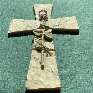 Tan ceramic Cross with rose